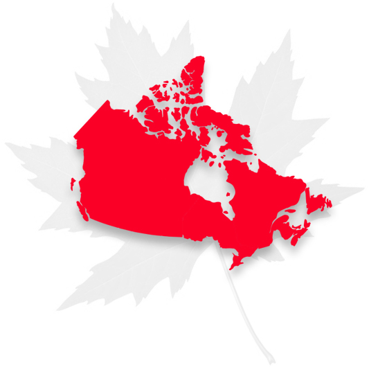 contact page canada map and maple leaf